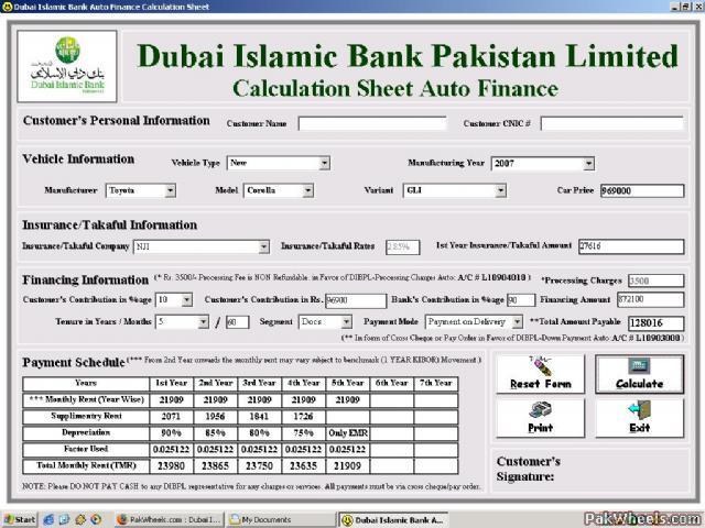Islamic bank car financing calculator in pakistan 16